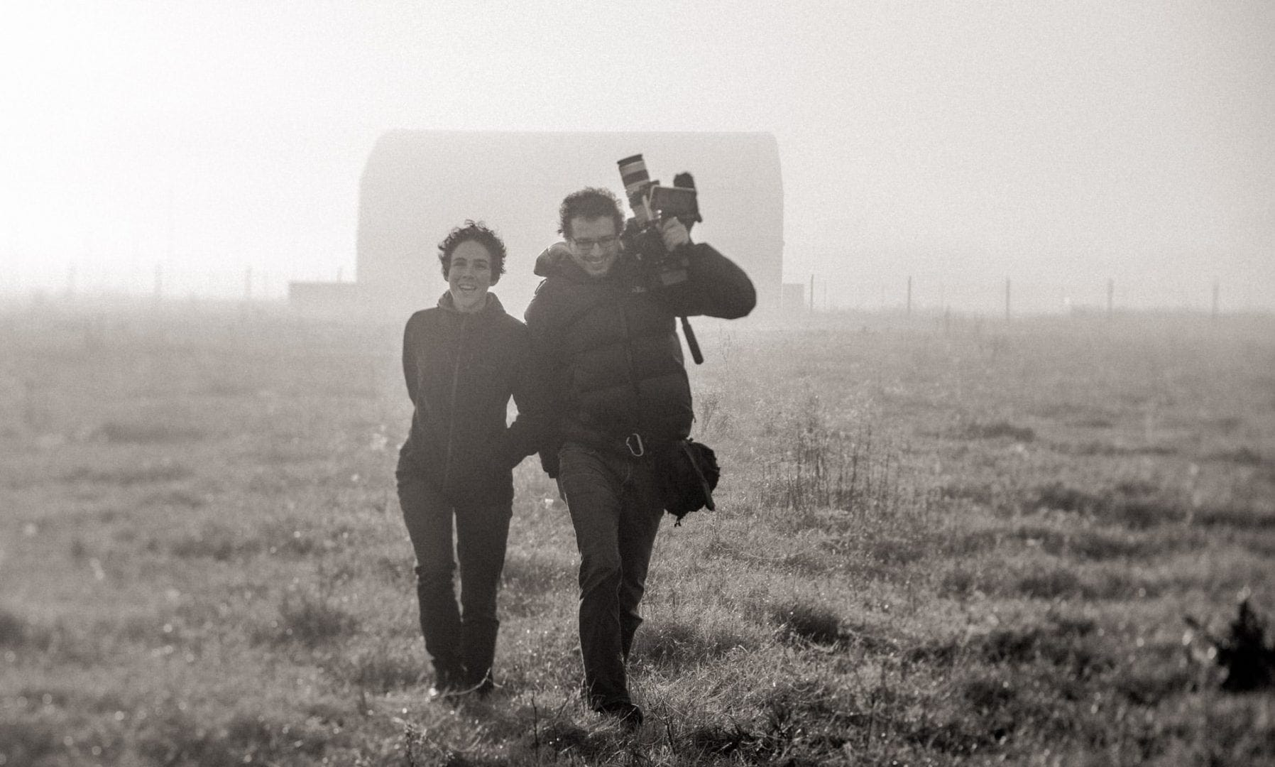 Cinematographer Theo Ribeiro and director Laura Belinky shooting B-roll during the making of Land of The Wind in Patagonia