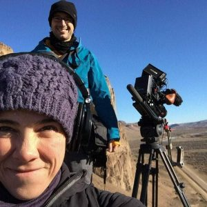 Cinematographer Theo Ribeiro and Director Laura Belinky shooting B-roll near Piedra Parada during the making of Land of The Wind