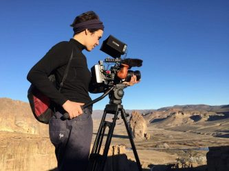 Laura Belinky shooting B-roll near Piedra Parada during the making of Land of The Wind