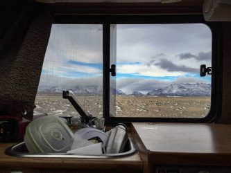 A view from inside the motor home during the making of Land of The Wind in Patagonia