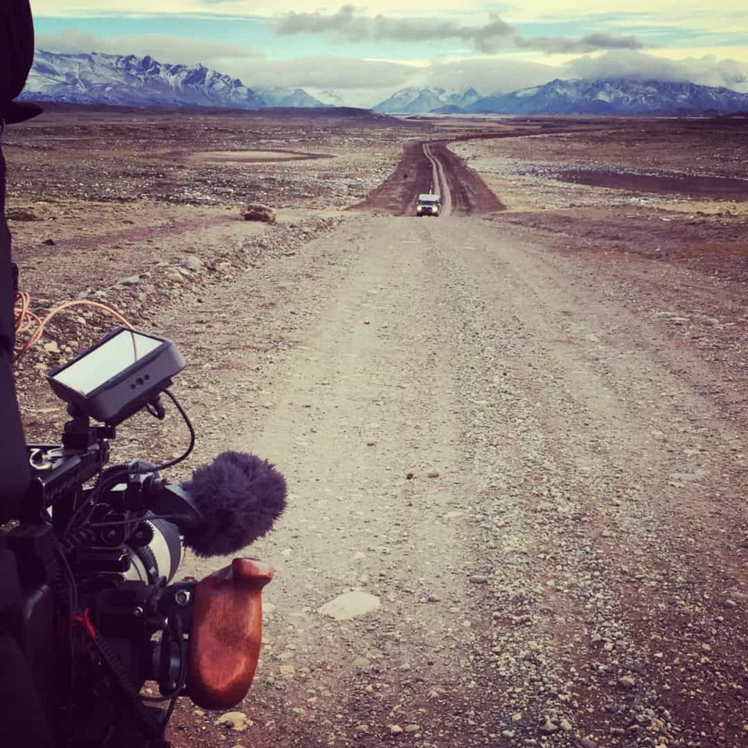 Filming at the side of the road during the Land of The Wind documentary