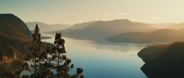 "Bird eye view of the Lacar Lake near San Martín de Los Andes - Still frame from the documentary ""Land of The Wind"""